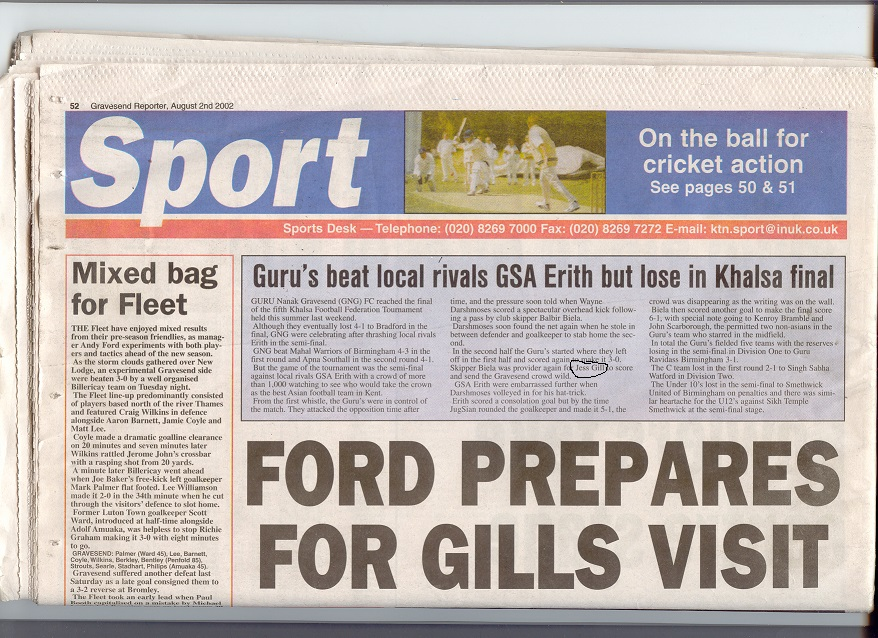 KFF Gurus v GSA - The Gravesend Reporter 2002