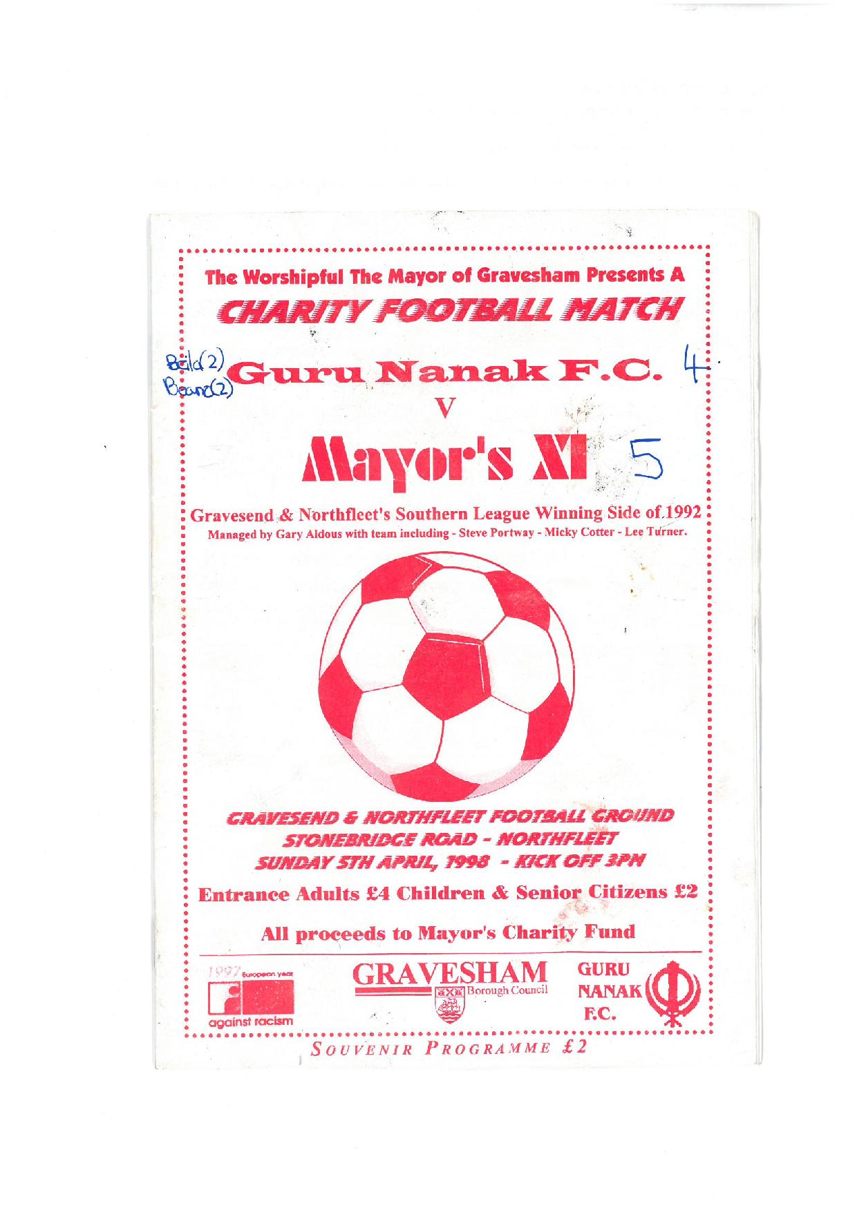 Mayors X1 Match 1998