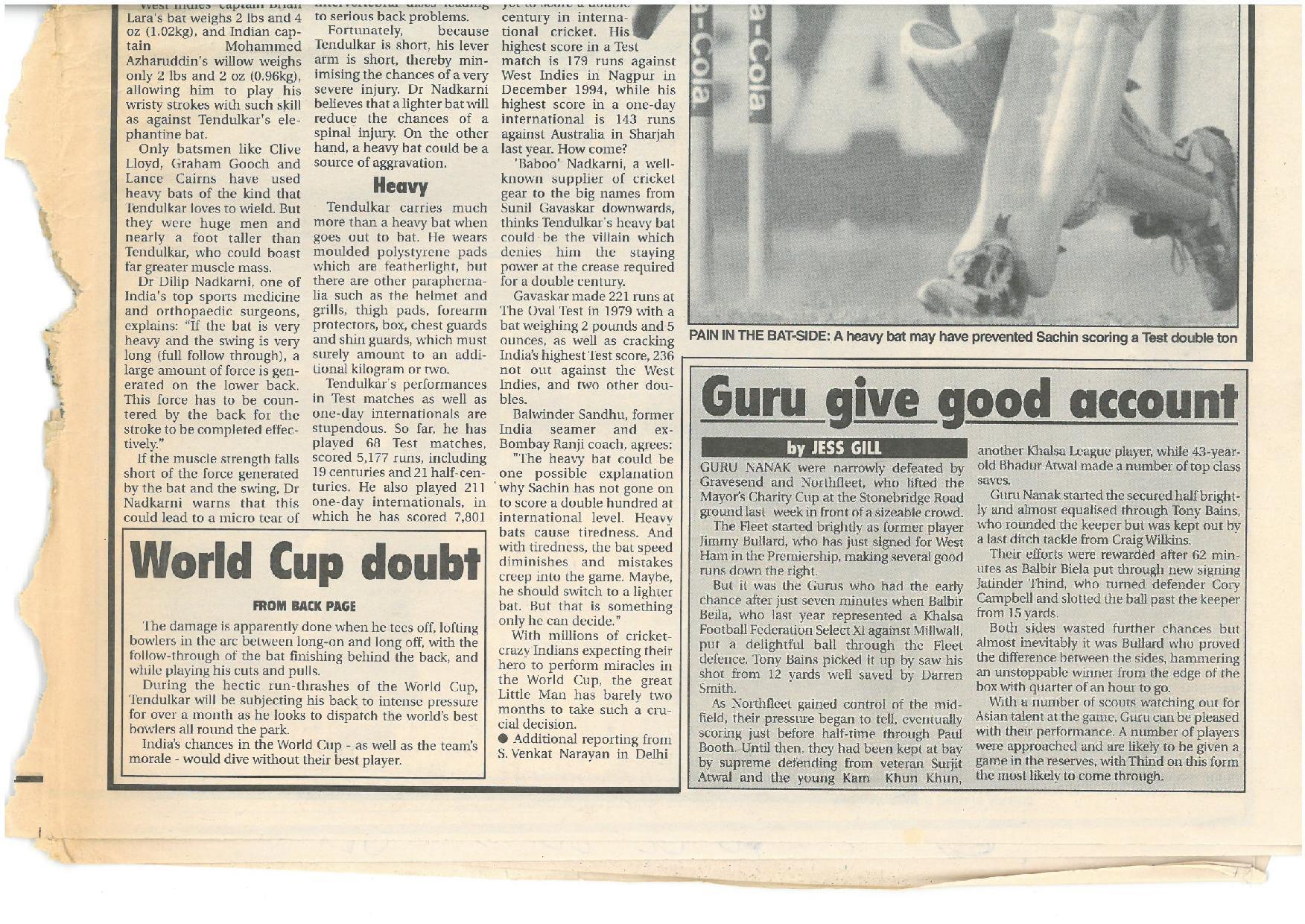 Mayors X1 Match 1999 Match Report