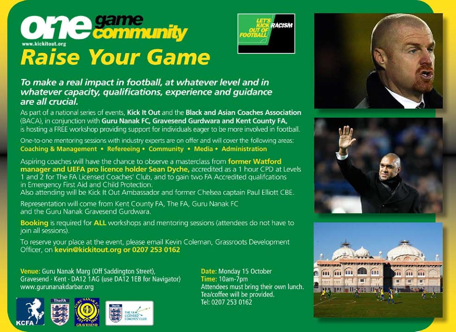 Raise your game- Kick It Out and BACA event - Gravesend Gurdwara 15 October 2012