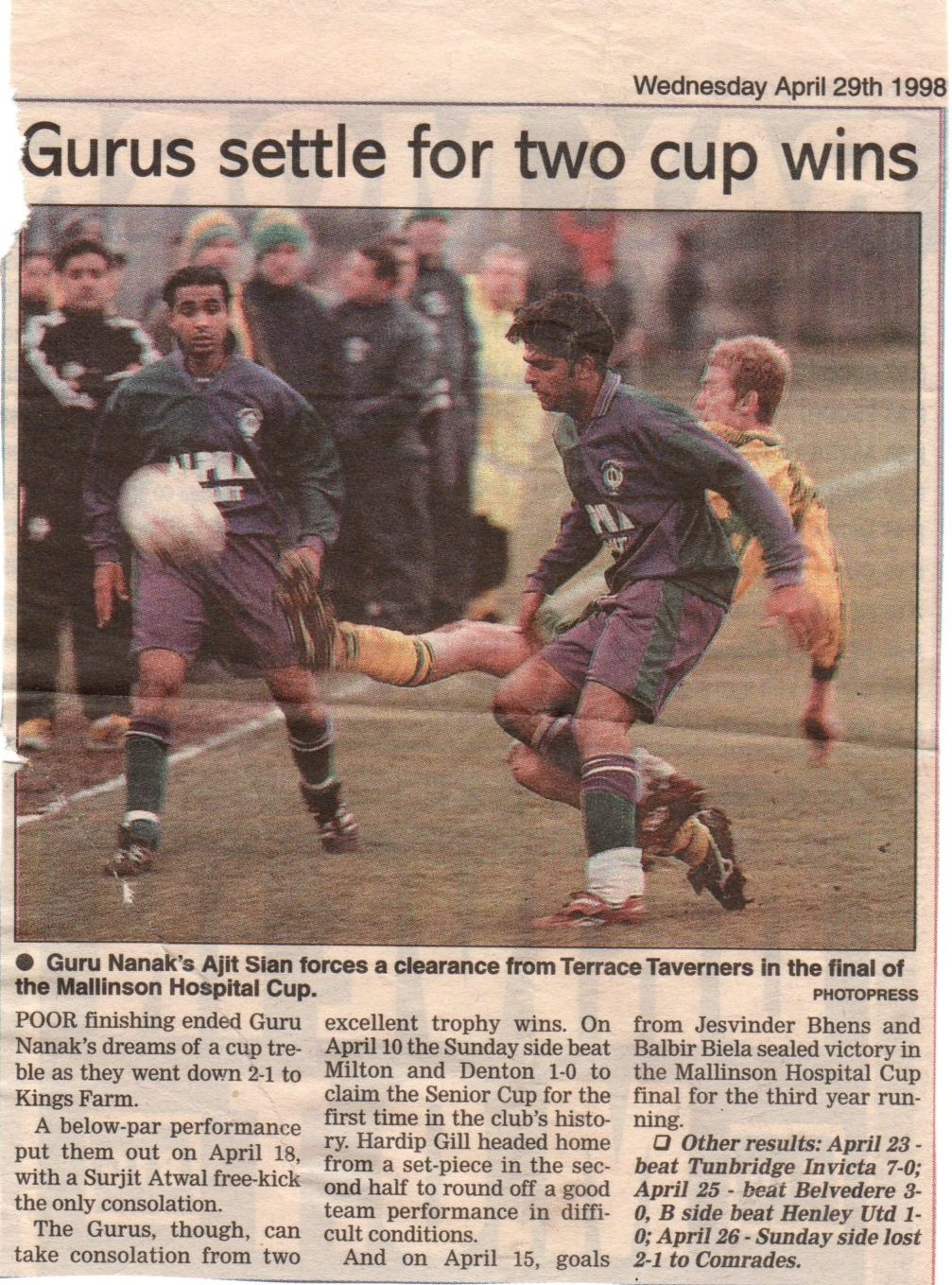 Malinson Hospital Cup 1998