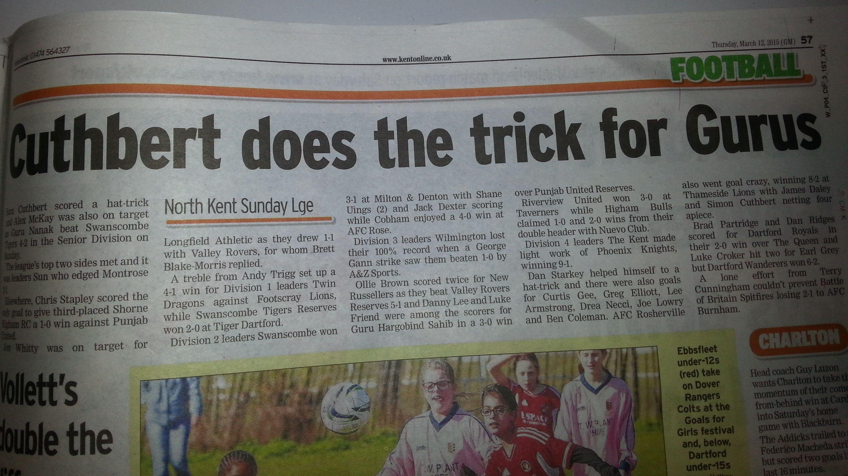 Sam Cuthbert Hatrick Headline - March 2015