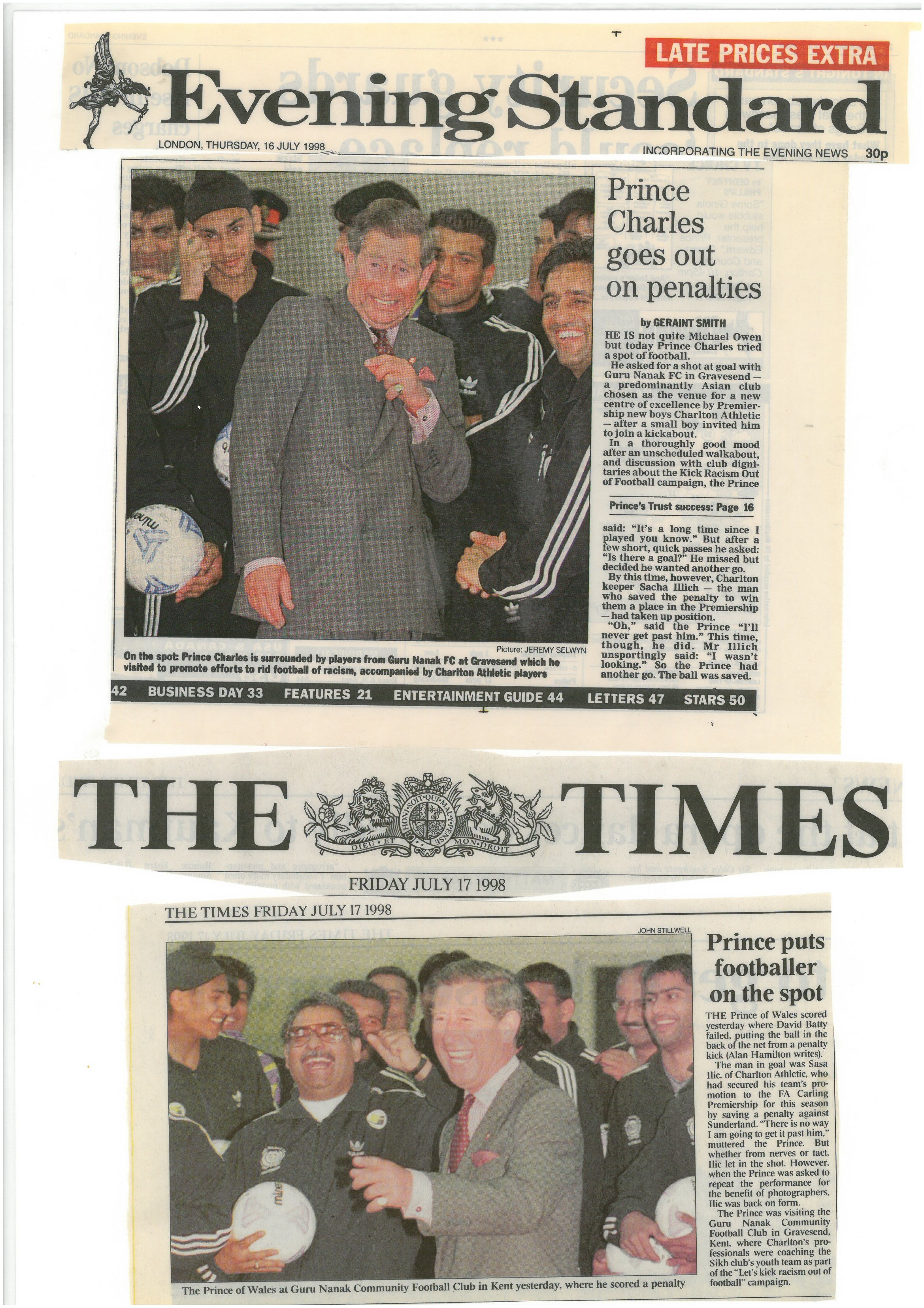 Price Charles Visit in the Times