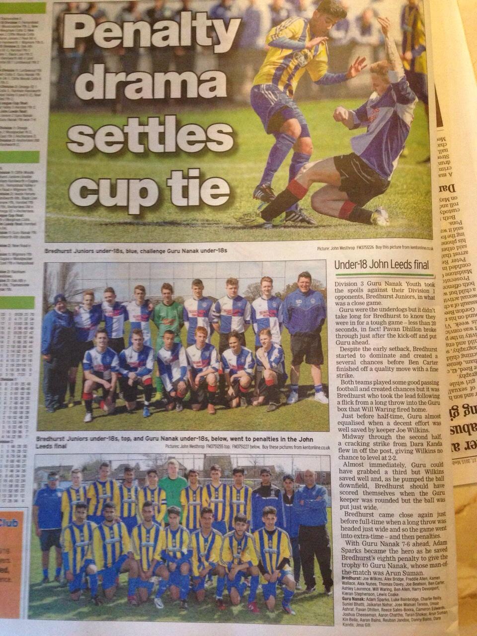 U18 John Leeds Cup Final 2015