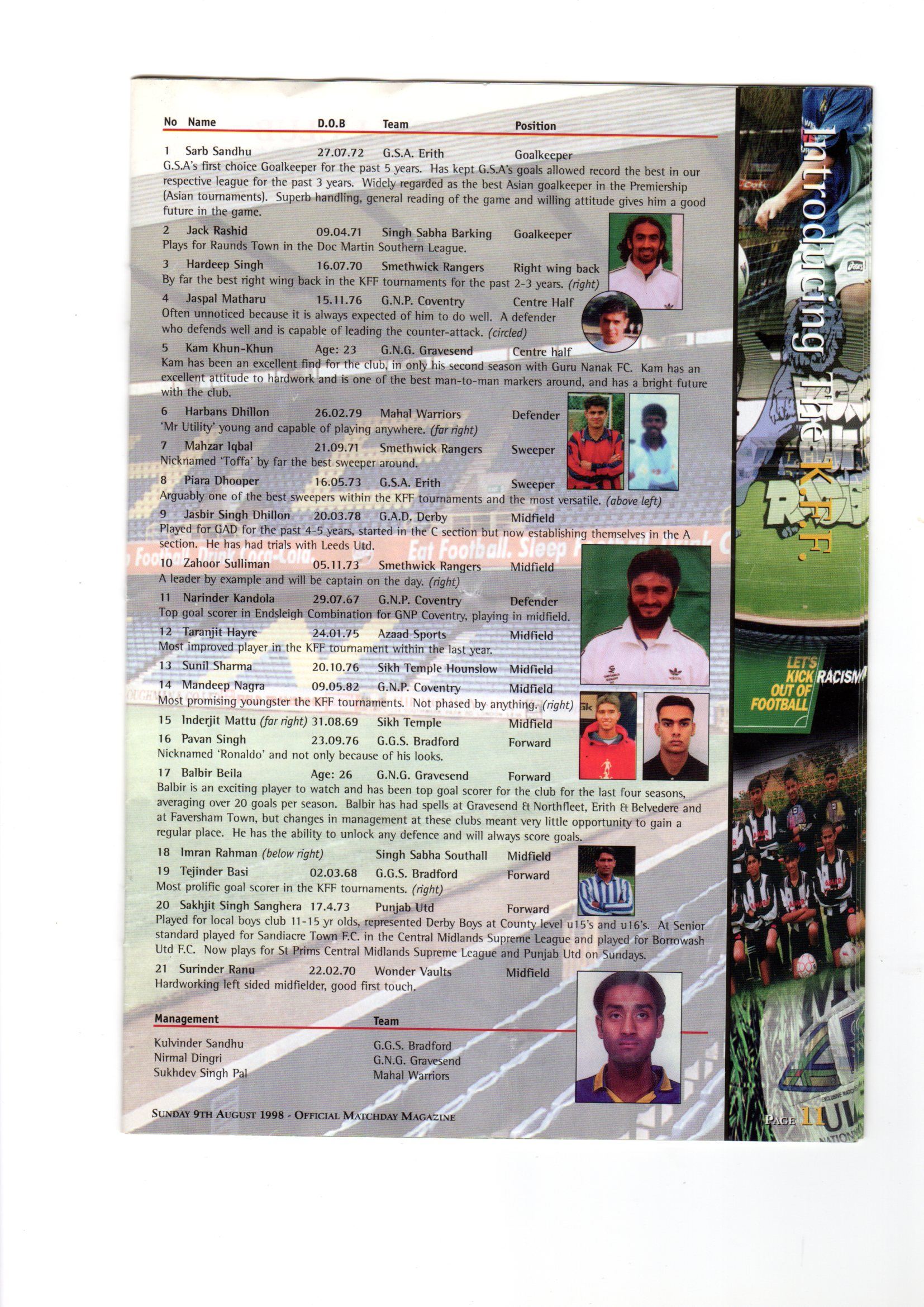KFF Programme Team Sheet 1998