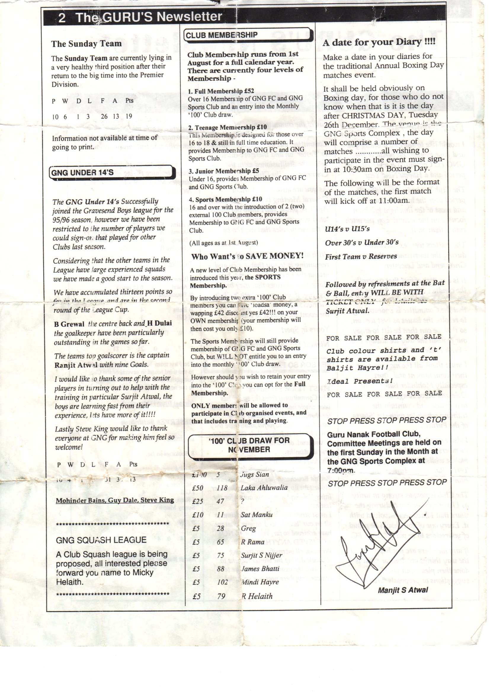 Old News letter from 1995 - page 2