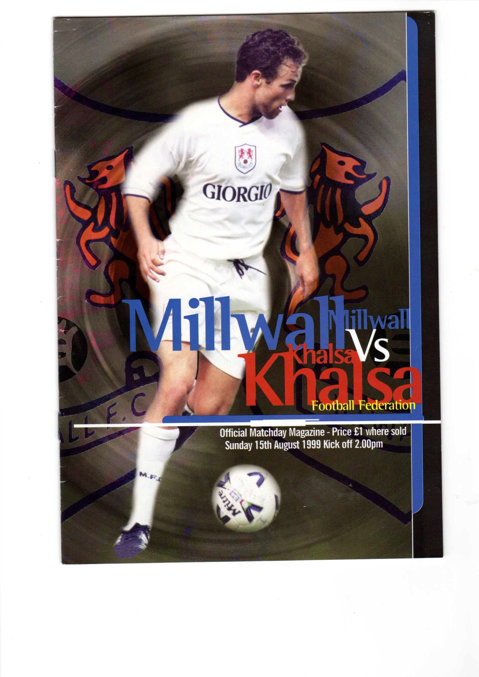 KFF Front Page of Programme from 1999