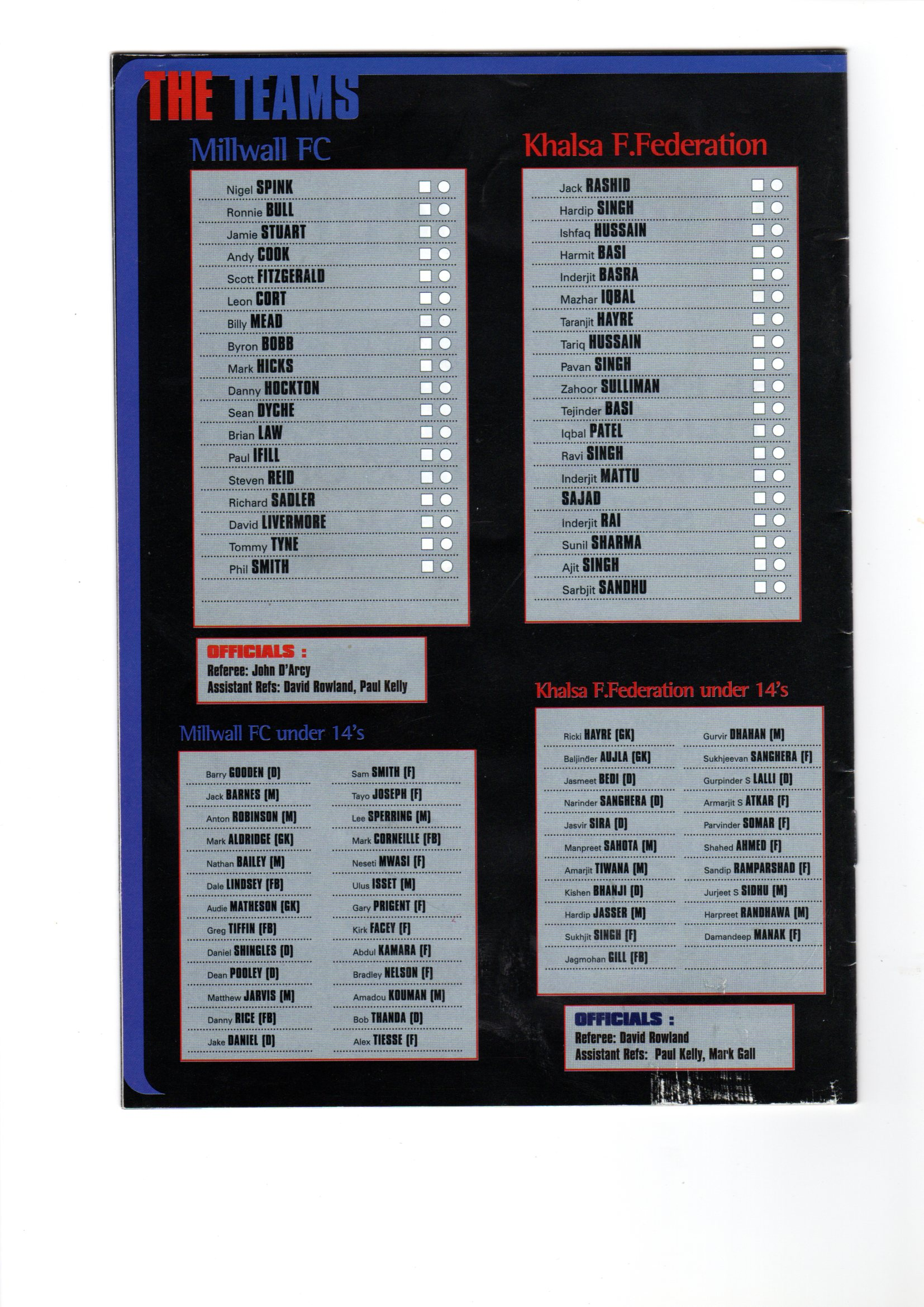 KFF Back Page of Programme from 1999