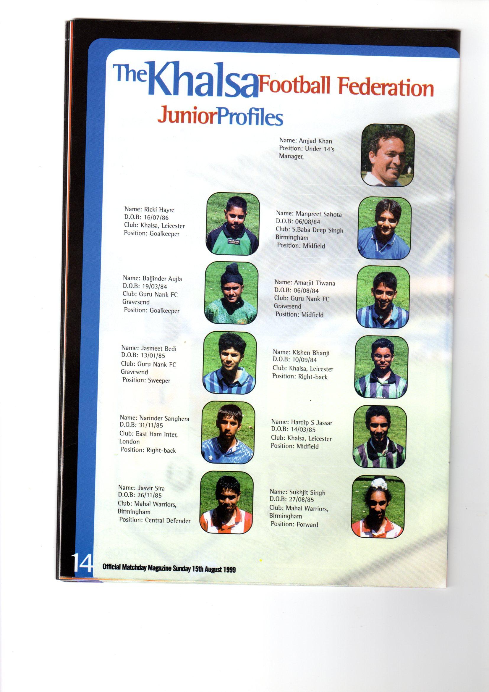 KFF Programme Team Sheet 1999