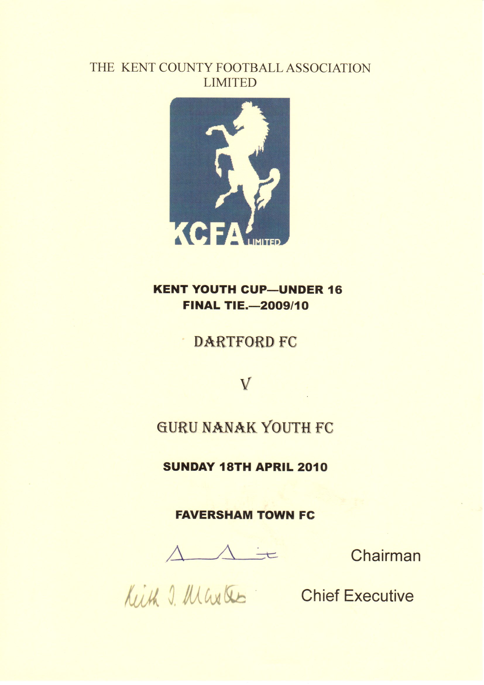 Kent Youth Cup Under 16's Winners Certificate