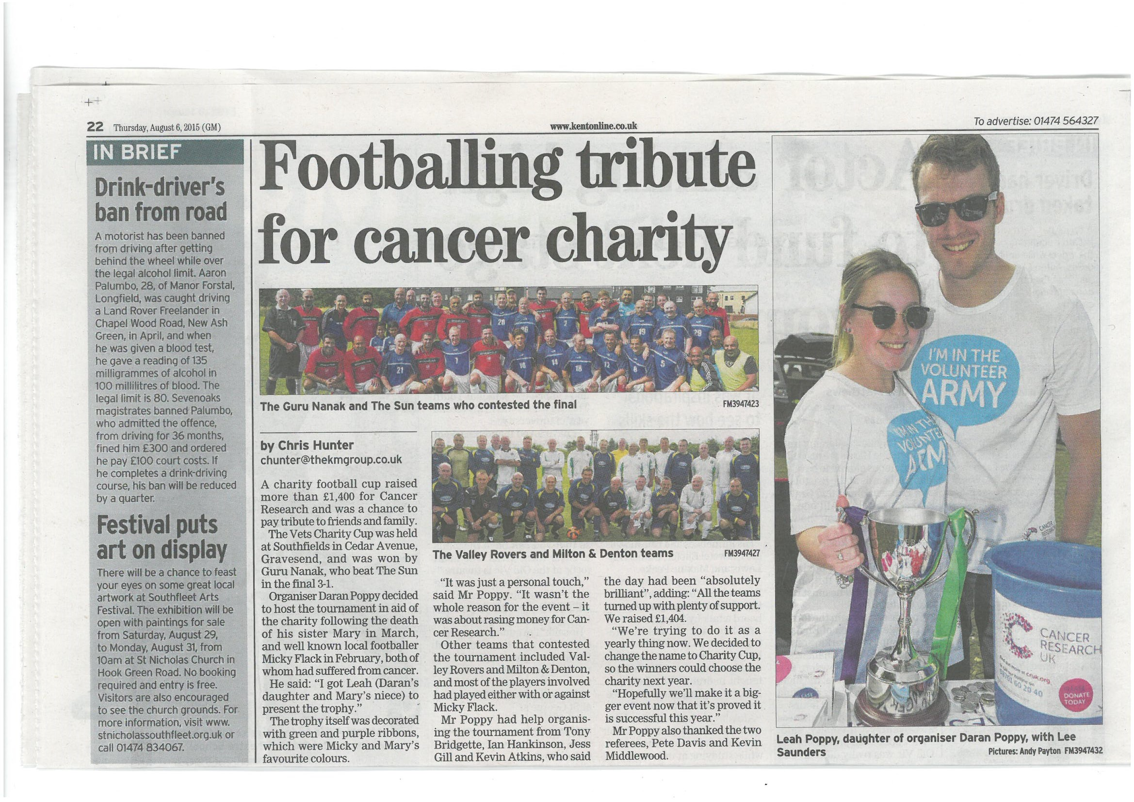 Gravesend Messenger - Cancer Research UK August 2015